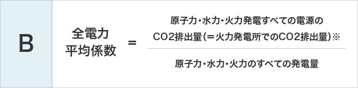 B 全電力平均係数=原子力・水力・火力発電すべての電源のCO2排出量(=火力発電所でのCO2排出量)※÷原子力・水力・火力のすべての発電量